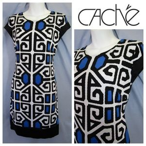 Cache Geometric Shift Mini Dress Black Blue 6 S